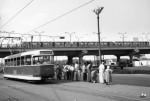 "Трамвайная остановка ""Станция метро Днепр"" в направлении Подола, 1964 г."
